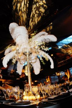 Fabulous 1920s feather centerpieces wedding receptions, centerpiec, vintage glamour, prom night, prom idea, fabul 1920s, themed weddings, feather, prom themes