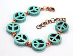 Bracelet Turquoise Copper Peace SigFREE SHIPPING! by riverwolfeartjewelry for $27.00 #zibbet