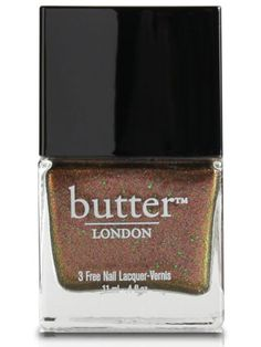 10 Best Sparkly Nail Polishes for Holiday Festivities: Nail Lacquer in Scuppered, $14, Butter London.