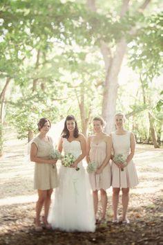 light pink + nude bridesmaids dresses // photo by JonathanWherrett.com