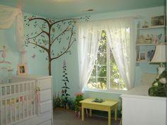 nursery design, tree, wall murals, decorating ideas, girl nurseries, nurseri design, fairi nurseri, nurseri idea, curtain