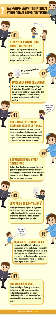 7 maneras de optimizar tus formularios de contacto #infografia #infographic #marketing
