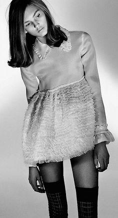 miumiu, model, style, peter pan collars, dresses, fashion editorials, doll dress, miu miu, mini
