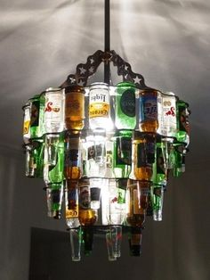 "Nothing says, ""Welcome to my place"" like a three-tier beer-bottle chandelier from Barlite."