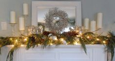 Natural and stunning Christmas mantel