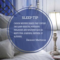 Can't sleep? Try snacking smarter before bedtime. Click the image for more #SleepTips from Denver Mattress.
