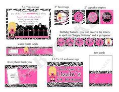 Hollywood Diva Birthday Party Package Zebra Print  by jcbabycakes, $25.00
