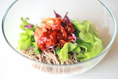 Cold Korean soba noodle salad
