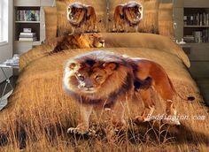 Attractive Lion on Grass Land Print 4-Piece 3D Duvet Cover Sets  #lion print #3d #duvetcover  Live a better life,start with @beddinginn
