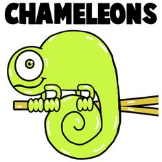 How to Draw Cartoon Chameleons with Easy Step by Step Drawing Lesson