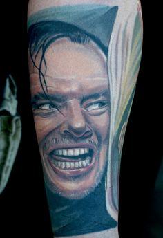 Jack Nicholson portrait tattoo from the Shining - AMAZING!