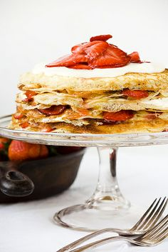 Strawberries, Rhubarb and Cream Crepe Cake