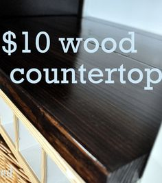 DIY $10 Wood Countertop! So simple and well worth your time and effort. Pin now and use when your need to give your kitchen a lift | cleverly inspired