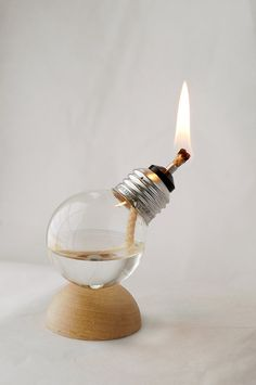Recycled Light Bulb Oil Lamp on Natural Wood Half Dome Base