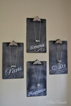 Cute - make new clip boards look vintage.  Then use for display. #retaildetails