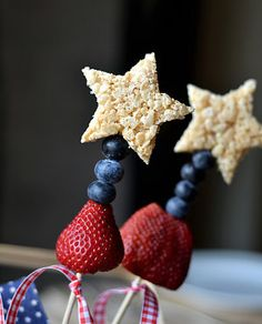 sparklers - rice krispy treats and fruit on a stick...