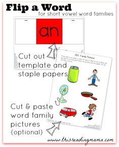 Flip a Word for Short Vowel Word Families~ GREAT for readers who struggle to blend sounds together to form words   This Reading Mama