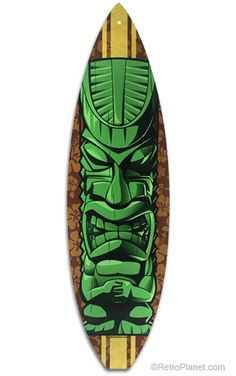 Surfboard Green Tiki Metal Sign