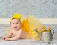 SWEET LiL CHICKY Tutu with Removable Feather Tail - Perfect for Easter Photos, Spring, Birthdays, Photography Prop (Sizes NB - 24mo). $25.00, via Etsy.