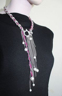 Statement Jewelry Multi Chain Necklace Purple Leather by Justlena,