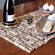 decor, wines, wine corks, tabl runner, crafti, diy table runner ideas, cork tabl, table runners, rustic wine
