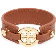 Tory Burch Leather logo cuff ($135) ❤ liked on Polyvore leather logo, logo cuff, leather cuffs, cuff bracelets
