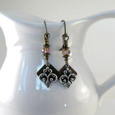 Brass Silver Earrings Trinity Brass Fleur by CinLynnBoutique, $17.00