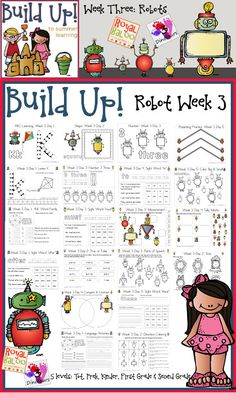 Build Up Summer Learning: Week 3 Robot - Levels: Tot, Prek, Kinder, First Grade and Second - Sight Words, ABCs, Numbers, Shapes, Word Families, Language and  Math - 3Dinosaurs.com and RoyalBaloo.com