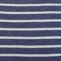 Blue Denim and Ivory Stripe Cotton Jersey Knit Fabric