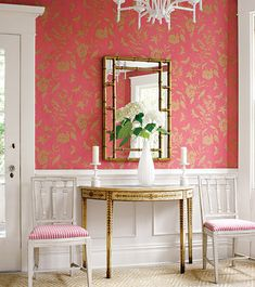 Pretty in pink + gold, love this foyer!