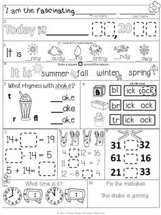 April First Grade Morning Work + hints pages
