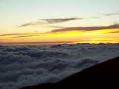 Watched the sunset from above clouds on the summit of Mauna Kea in Hawaii.