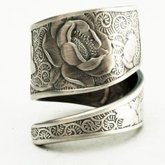 Victorian Rose Pattern Rare Sterling Silver Spoon Ring by Spoonier