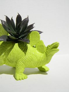 Lime Green Dinosaur Planter