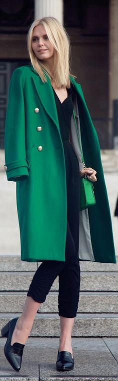 long green wool coat