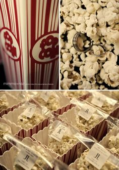 Popcorn favors for Old Hollywood wedding theme