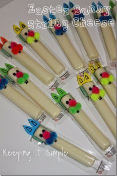 Bunny String Cheese How-To ~Easy Easter Party Treat Idea... perfect for school parties party treats, parti treat, school parties, easter parti, easter food, kid foods, easter treat ideas