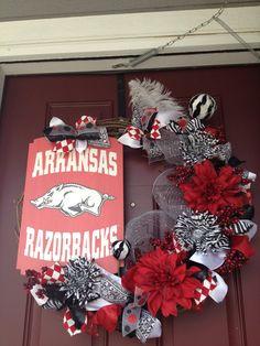 Arkansas Razorbacks  24 Grapevine Wreath by TwistedandTwizzled, $90.00