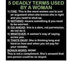 5 Deadly Terms Used by a Woman.