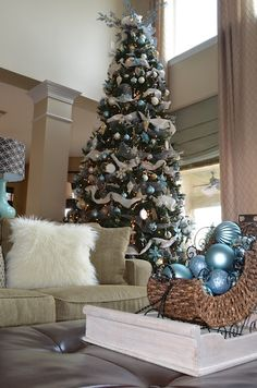 Beautiful blue, white, & silver Christmas decor...something a little different from traditional reds and greens