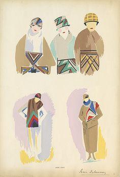 vintage fashion illustration by Sonia Delaunay 1923/24
