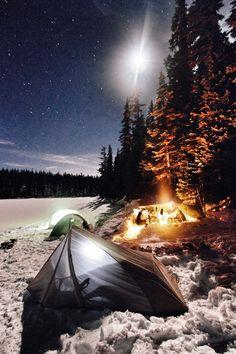 Snow, stars, tarp, tent...