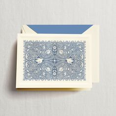 Engraved Enchanted Abbey Note: Let's nibble on petit fours and chat the afternoon away. Such is time spent with the dearest of friends, and the inspiration for this note, engraved in the loveliest of lace patterns. Perfect for correspondence equal parts discerning and demure.