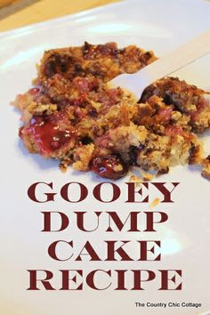 Gooey Dump Cake Recipe -- old recipe but still good and quick!    •1 can cherry pie filling  •1 can crushed pineapple (drained)  •1 cup of shredded coconut  •2 sticks of butter  •1 cup of chopped pecans  •1 box yellow or white cake mix  (Think that's more butter than my mom used!)