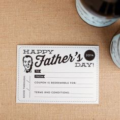 Treat your Dad using this printable retro coupon, plus a matching card and wine labels!