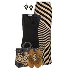 purs, bag, outfit, earring, stripe, maxi skirts