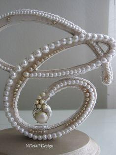 Monogrammed Custom Vintage Pearl Wedding Cake Topper & Display.