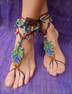 Gypsy Barefoot Peacock Sandals by GPyoga on Etsy