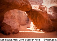 Moab Day Hike - Arches: Sand Dune Arch and Broken Arch  Length: 1.7 miles round trip  Difficulty: Easy