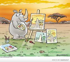 Paintings by a black rhino